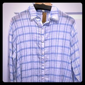 NWT Light and Airy Plaid Button Down Top